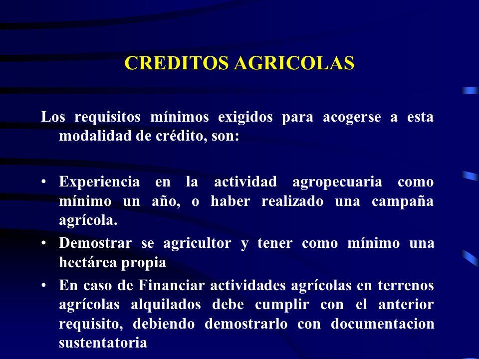 CREDITOS AGRICOLAS Los requisitos mínimos exigidos para acogerse a esta modalidad de crédito, son: Experiencia en la actividad agropecuaria como mínimo un año, o haber realizado una campaña agrícola.