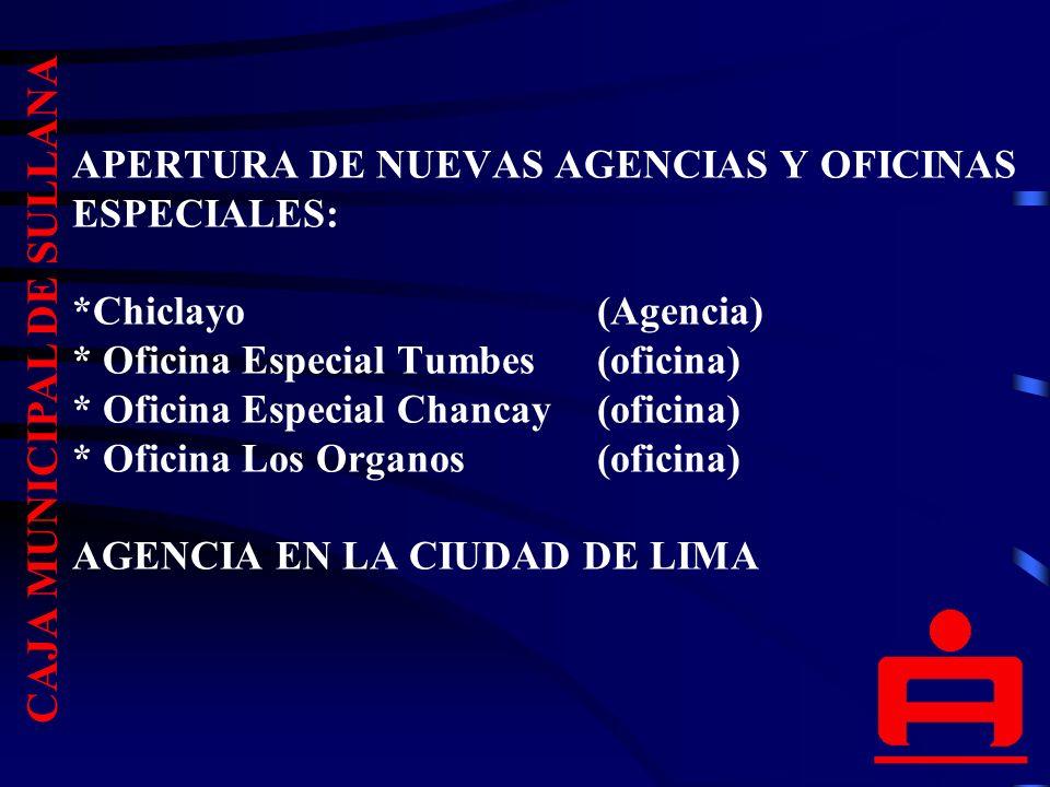 APERTURA DE NUEVAS AGENCIAS Y OFICINAS ESPECIALES: *Chiclayo (Agencia) * Oficina Especial Tumbes (oficina) * Oficina Especial Chancay (oficina) * Oficina Los Organos(oficina) AGENCIA EN LA CIUDAD DE LIMA CAJA MUNICIPAL DE SULLANA