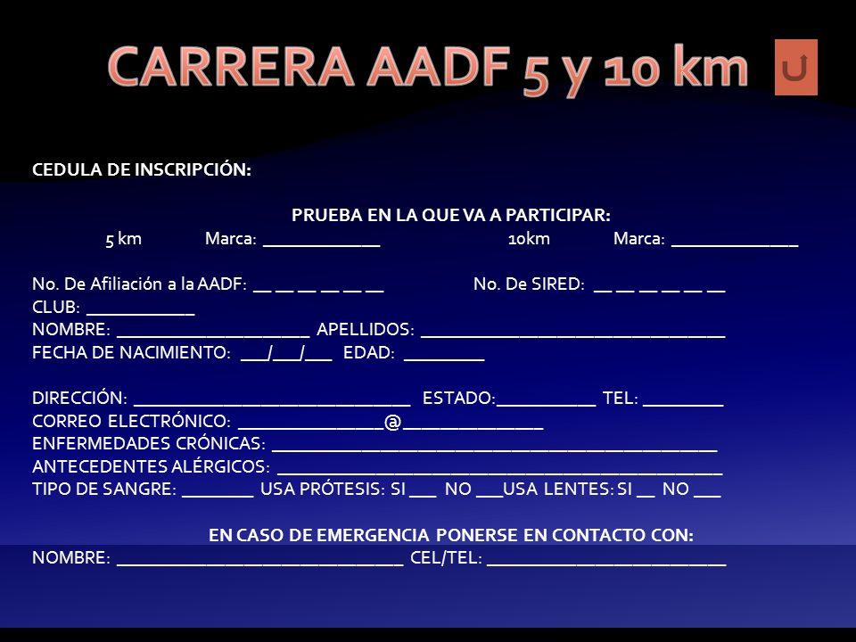 A realizarse bajo las siguientes bases: INFORMES: Directamente en las oficinas de la AADF con: Holiver Romero Flores, 55246363, registro@aadf.org.mx R