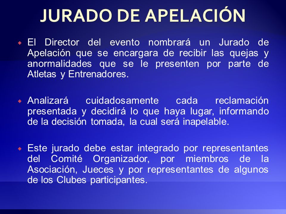 El director del evento nombrará con toda anticipación un cuerpo de Jueces calificados y avalados por la Asociación de Atletismo del D. F. para eventos