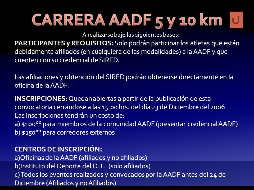 A realizarse bajo las siguientes bases: LUGAR Y FECHA: La salida de la carrera se efectuará en la dirección de las oficinas de la AADF ubicada en José Linares #1636, Col del Valle, Del.