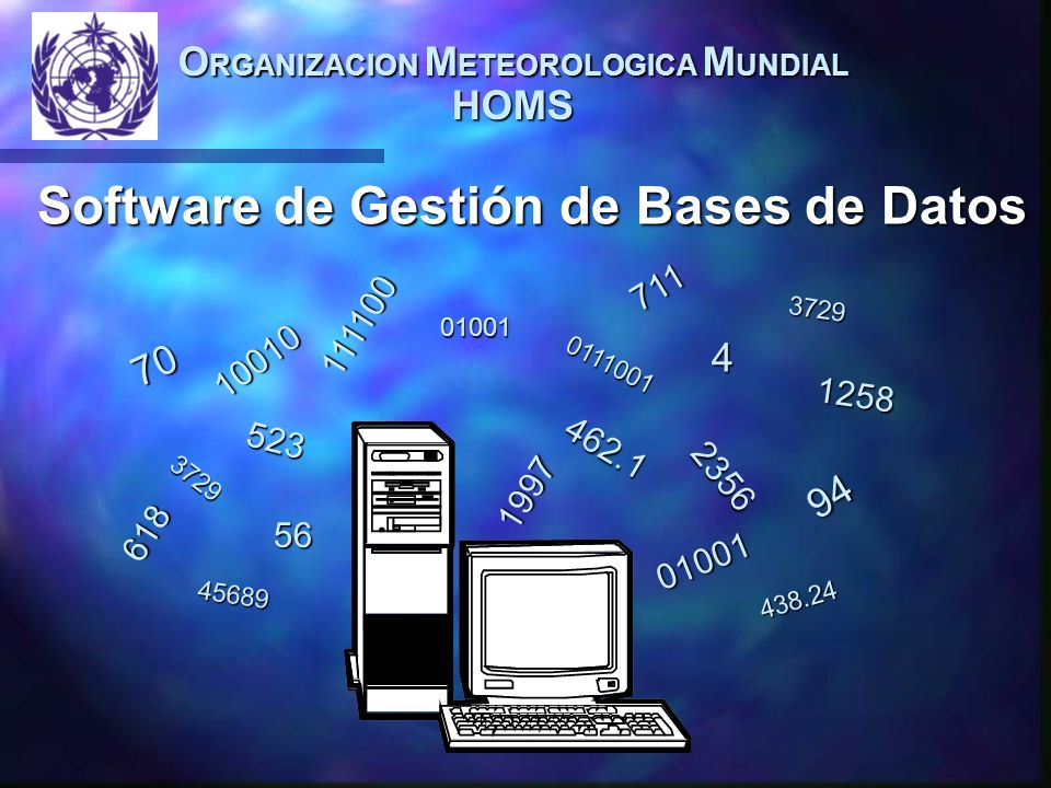 O RGANIZACION M ETEOROLOGICA M UNDIAL HOMS Software de Gestión de Bases de Datos 01001 01001 4 94 1258 462.1 56 70 618 0111001 438.24 523 3729 711 2356 111100 1997 10010 3729 45689