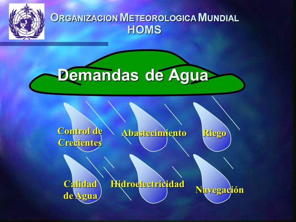 O RGANIZACION M ETEOROLOGICA M UNDIAL HOMS Demandas de Agua Navegación Abastecimiento HidroelectricidadCalidad de Agua Riego Control de Crecientes