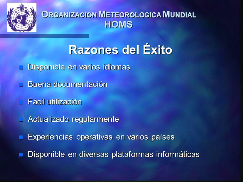 O RGANIZACION M ETEOROLOGICA M UNDIAL HOMS n Disponible en varios idiomas n Buena documentación n Fácil utilización n Actualizado regularmente n Exper
