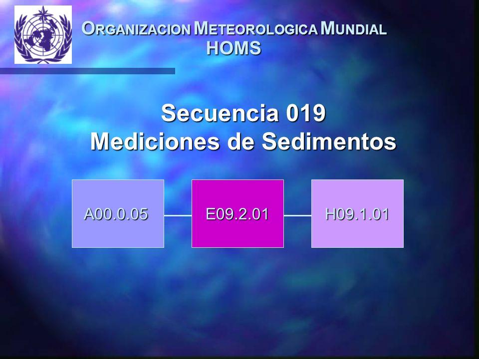 O RGANIZACION M ETEOROLOGICA M UNDIAL HOMS A00.0.05E09.2.01H09.1.01 Secuencia 019 Mediciones de Sedimentos