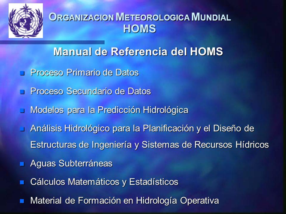 O RGANIZACION M ETEOROLOGICA M UNDIAL HOMS Manual de Referencia del HOMS n Proceso Primario de Datos n Proceso Secundario de Datos n Modelos para la Predicción Hidrológica n Análisis Hidrológico para la Planificación y el Diseño de Estructuras de Ingeniería y Sistemas de Recursos Hídricos n Aguas Subterráneas n Cálculos Matemáticos y Estadísticos n Material de Formación en Hidrología Operativa