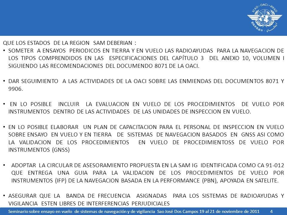 5 CON EL FIN DE INTERCAMBIAR EXPERIENCIA ENTRE LAS UNIDADES DE INSPECCION EN VUELO DE LA REGION SE FORME UN GRUPO REGIONAL FORMADO POR ESPECIALISTAS DEL AREA EN CADA UNO DE LOS ESTADOS QUE EN CONJUNTO CON EL PERSONAL OACI DE LA OFICINA SAM ANALICEN LA POSIBILIDAD DE REALIZAR REUNIONES VIA WEB BAJO LA COORDINACION INICIAL DE LA OACI CON UNA FRECUENCIA INICIAL DE CADA CUATROS MESES INICIANDO A MEDIADOS DE MARZO DE 2012.