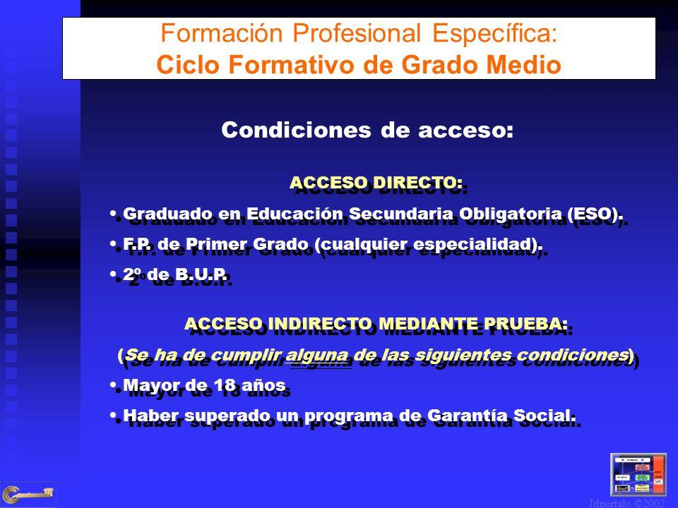 Condiciones de acceso: ACCESO DIRECTO: Graduado en Educación Secundaria Obligatoria (ESO). F.P. de Primer Grado (cualquier especialidad). 2º de B.U.P.