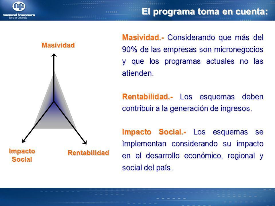 El programa toma en cuenta: Rentabilidad ImpactoSocialMasividad Masividad.- Considerando que más del 90% de las empresas son micronegocios y que los programas actuales no las atienden.