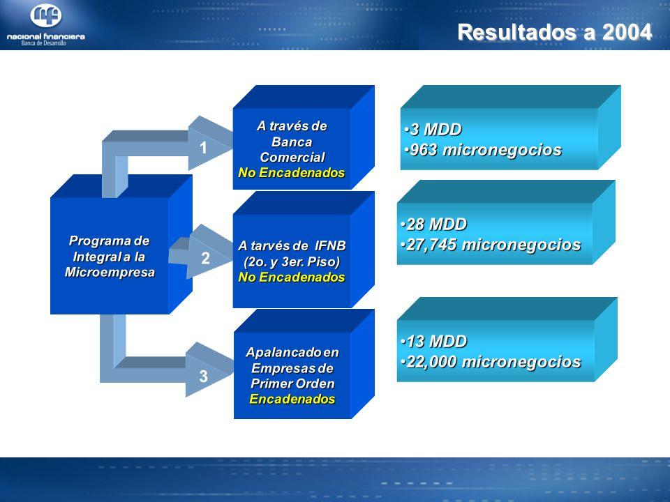 Resultados a 2004 Programa de Integral a la Microempresa 3 2 1 A través de BancaComercial No Encadenados Apalancado en Empresas de Primer Orden Encadenados 3 MDD 3 MDD 963 micronegocios 963 micronegocios A tarvés de IFNB (2o.