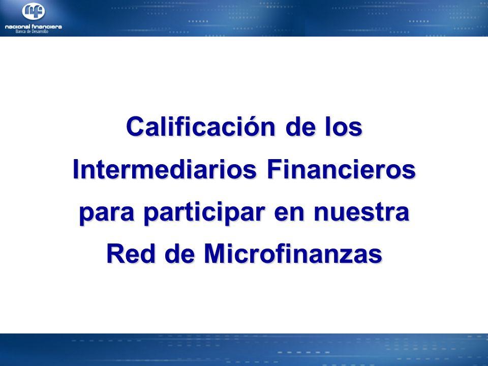 Calificación de los Intermediarios Financieros para participar en nuestra Red de Microfinanzas