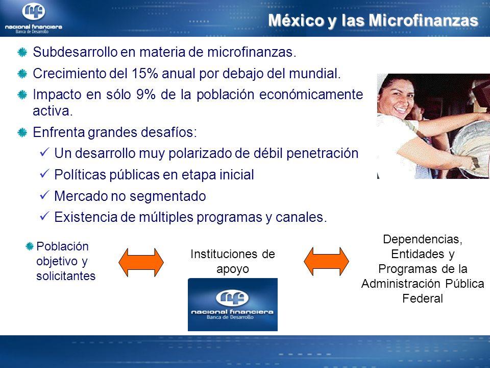 Subdesarrollo en materia de microfinanzas.Crecimiento del 15% anual por debajo del mundial.