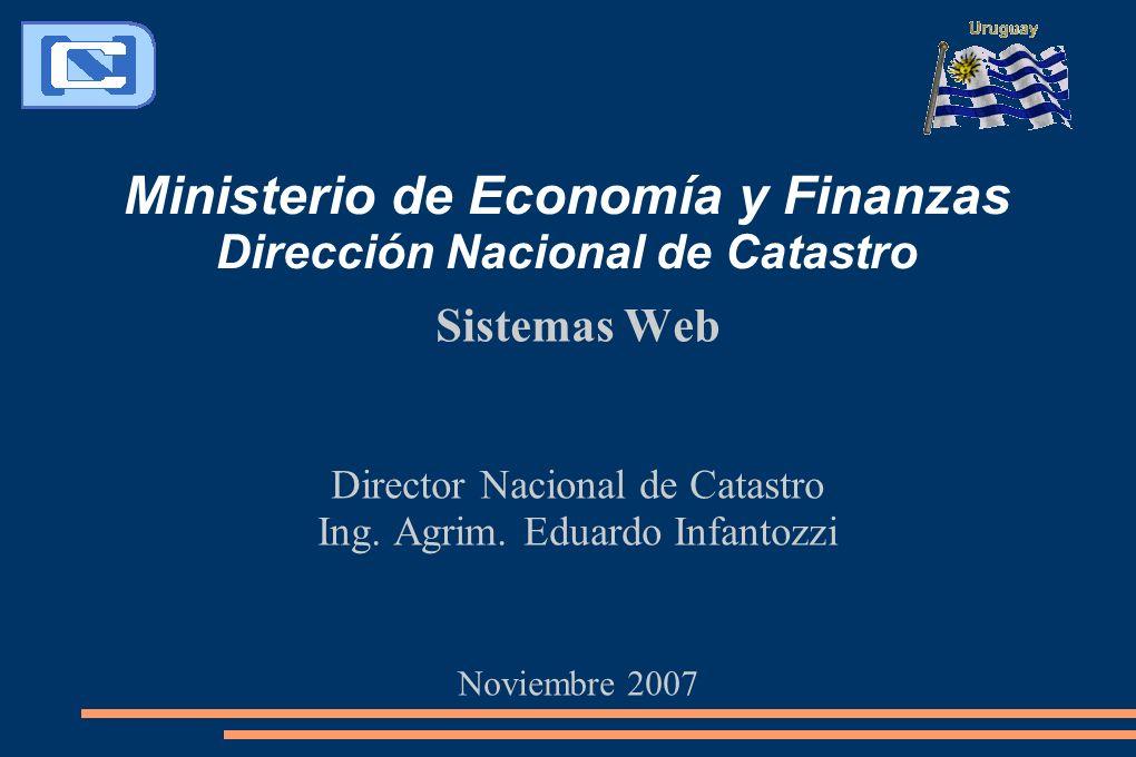 Ministerio de Economía y Finanzas Dirección Nacional de Catastro Sistemas Web Director Nacional de Catastro Ing. Agrim. Eduardo Infantozzi Noviembre 2