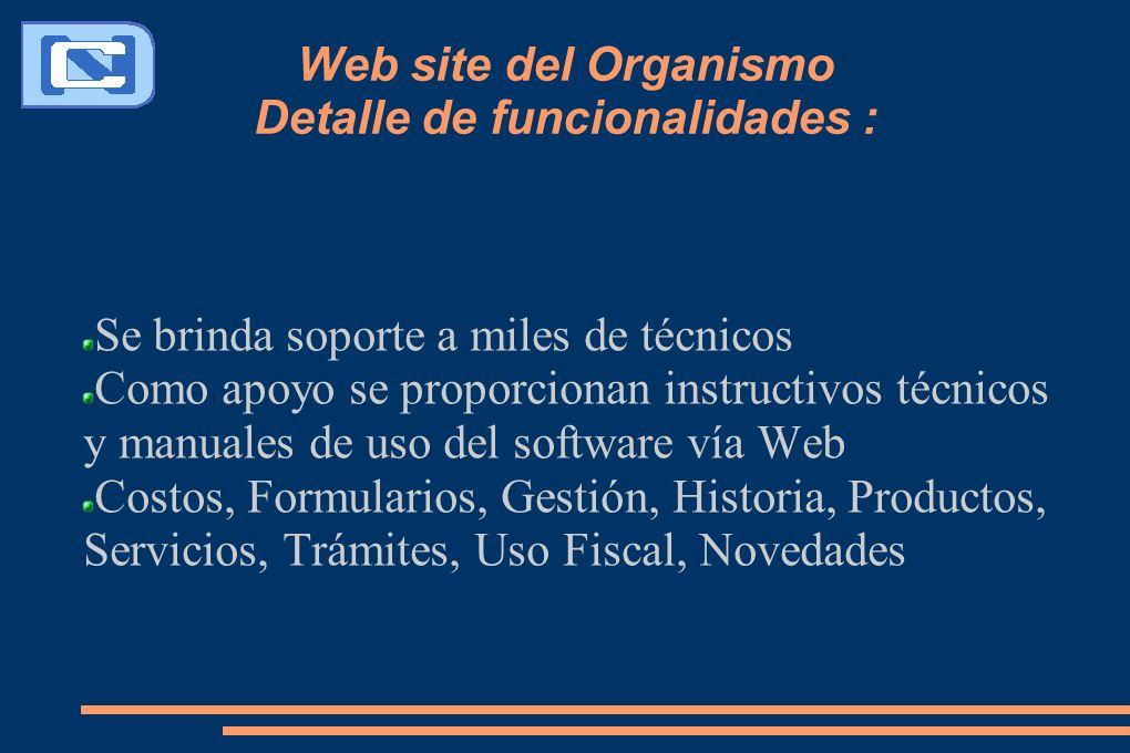 Web site del Organismo Detalle de funcionalidades : Se brinda soporte a miles de técnicos Como apoyo se proporcionan instructivos técnicos y manuales