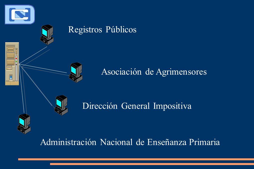 Registros Públicos Asociación de Agrimensores Dirección General Impositiva Administración Nacional de Enseñanza Primaria