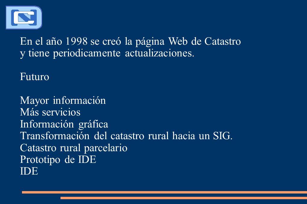 En el año 1998 se creó la página Web de Catastro y tiene periodicamente actualizaciones. Futuro Mayor información Más servicios Información gráfica Tr