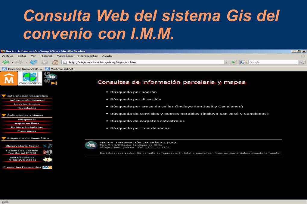 Consulta Web del sistema Gis del convenio con I.M.M.