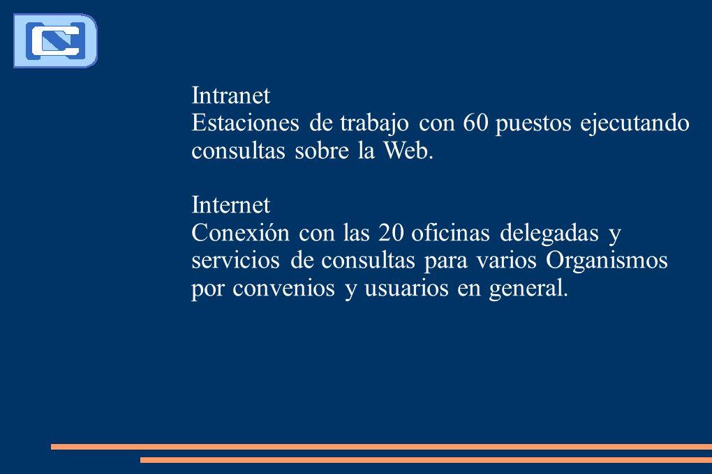 Intranet Estaciones de trabajo con 60 puestos ejecutando consultas sobre la Web. Internet Conexión con las 20 oficinas delegadas y servicios de consul