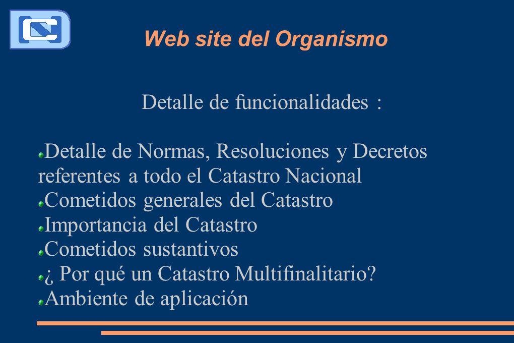 Web site del Organismo Detalle de funcionalidades : Detalle de Normas, Resoluciones y Decretos referentes a todo el Catastro Nacional Cometidos genera