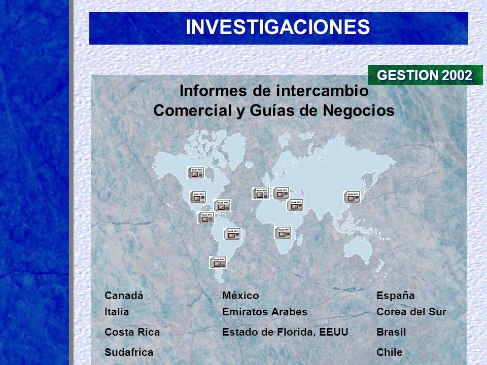 Informes de intercambio Comercial y Guías de Negocios México Sudafrica Costa Rica Emiratos ArabesCorea del Sur Brasil Canadá Chile España Italia Estad