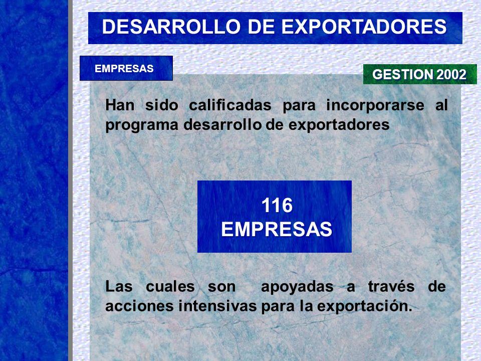 DESARROLLO DE EXPORTADORES Han sido calificadas para incorporarse al programa desarrollo de exportadores Las cuales son apoyadas a través de acciones