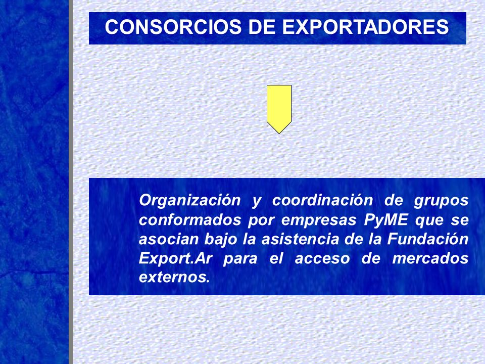Organización y coordinación de grupos conformados por empresas PyME que se asocian bajo la asistencia de la Fundación Export.Ar para el acceso de merc