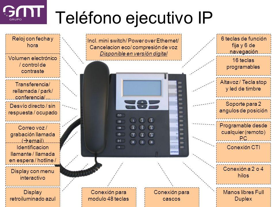 Teléfono ejecutivo IP 6 teclas de función fija y 6 de navegación 16 teclas programables Altavoz / Tecla stop y led de timbre Soporte para 2 angulos de