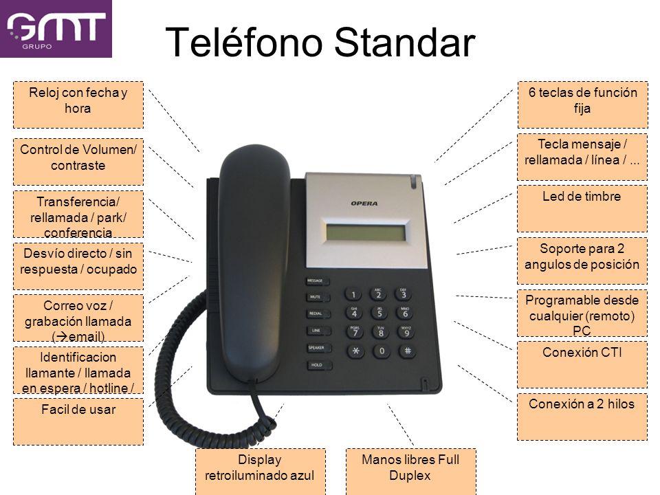 Teléfono Standar 6 teclas de función fija Tecla mensaje / rellamada / línea /... Led de timbre Soporte para 2 angulos de posición Programable desde cu