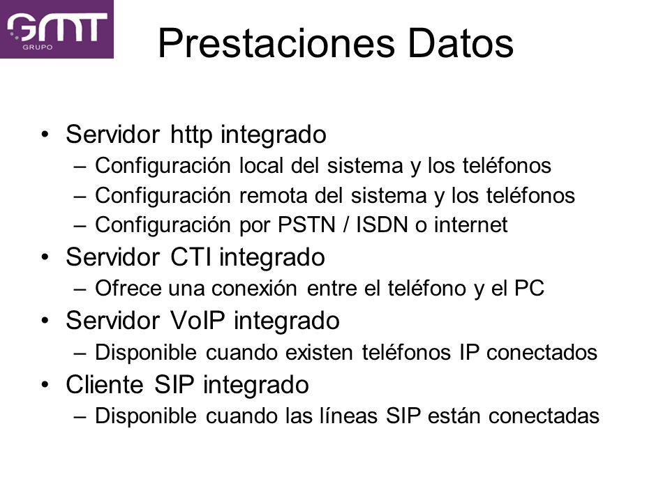 Prestaciones Datos Servidor http integrado –Configuración local del sistema y los teléfonos –Configuración remota del sistema y los teléfonos –Configu