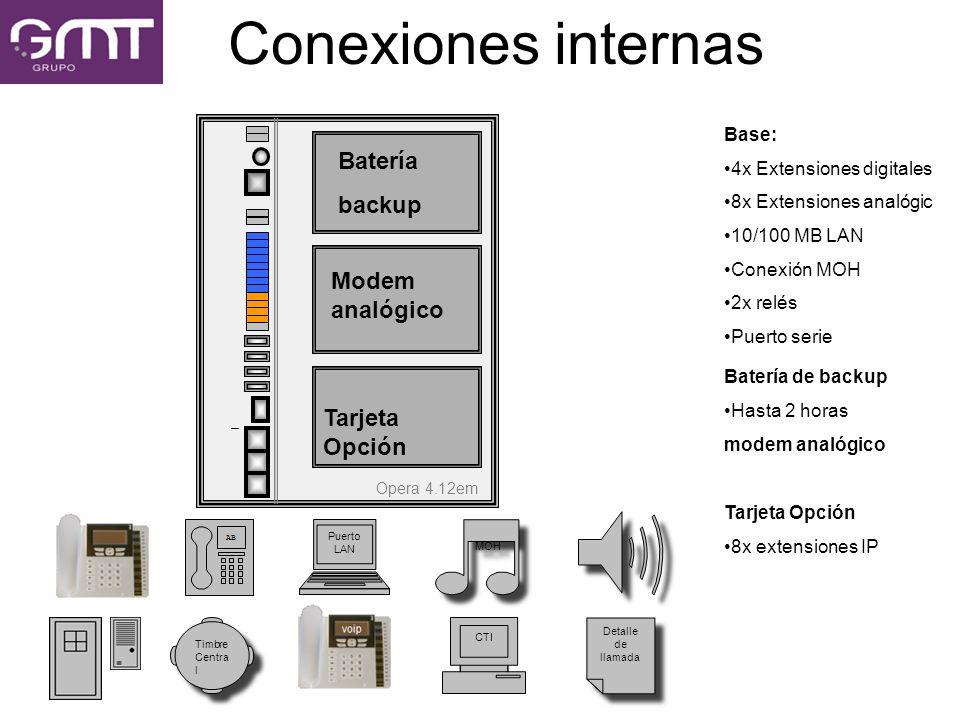 Conexiones internas Base: 4x Extensiones digitales 8x Extensiones analógic 10/100 MB LAN Conexión MOH 2x relés Puerto serie Batería de backup Hasta 2