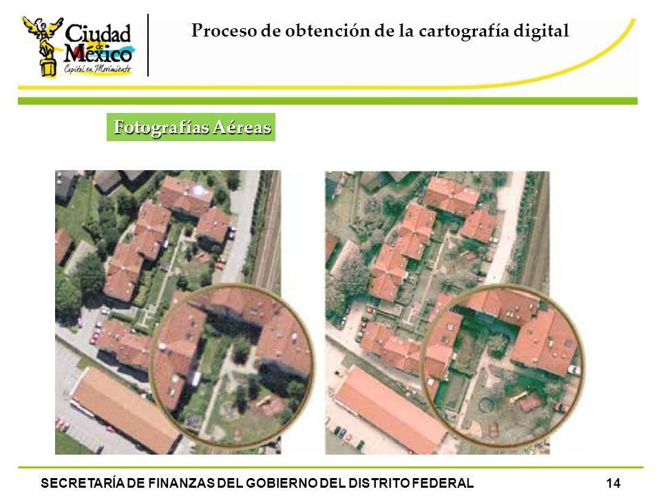 SECRETARÍA DE FINANZAS DEL GOBIERNO DEL DISTRITO FEDERAL14 Proceso de obtención de la cartografía digital Fotografías Aéreas