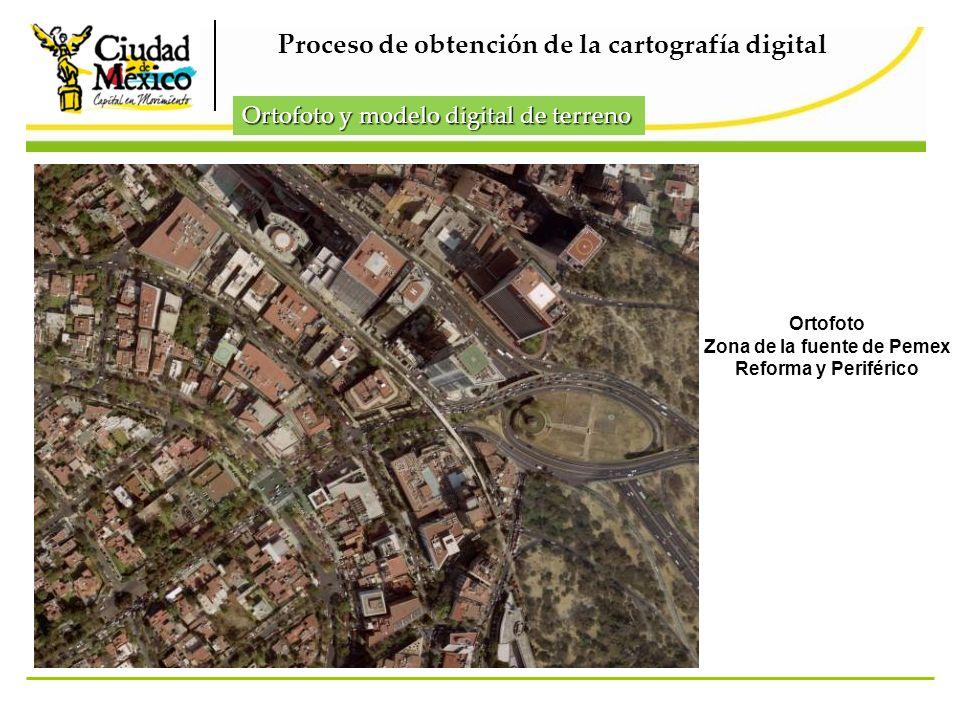 Ortofoto Zona de la fuente de Pemex Reforma y Periférico Proceso de obtención de la cartografía digital Ortofoto y modelo digital de terreno
