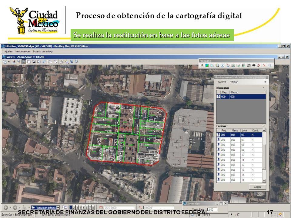 Proceso de obtención de la cartografía digital Se realiza la restitución en base a las fotos aéreas SECRETARÍA DE FINANZAS DEL GOBIERNO DEL DISTRITO F