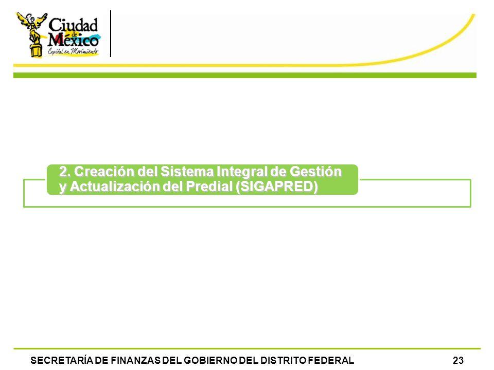 SECRETARÍA DE FINANZAS DEL GOBIERNO DEL DISTRITO FEDERAL23 2. Creación del Sistema Integral de Gestión y Actualización del Predial (SIGAPRED)