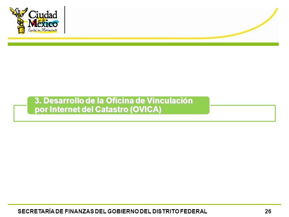 SECRETARÍA DE FINANZAS DEL GOBIERNO DEL DISTRITO FEDERAL26 3. Desarrollo de la Oficina de Vinculación por Internet del Catastro (OVICA)