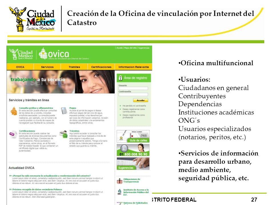Creación de la Oficina de vinculación por Internet del Catastro Oficina multifuncional Usuarios: Ciudadanos en general Contribuyentes Dependencias Ins