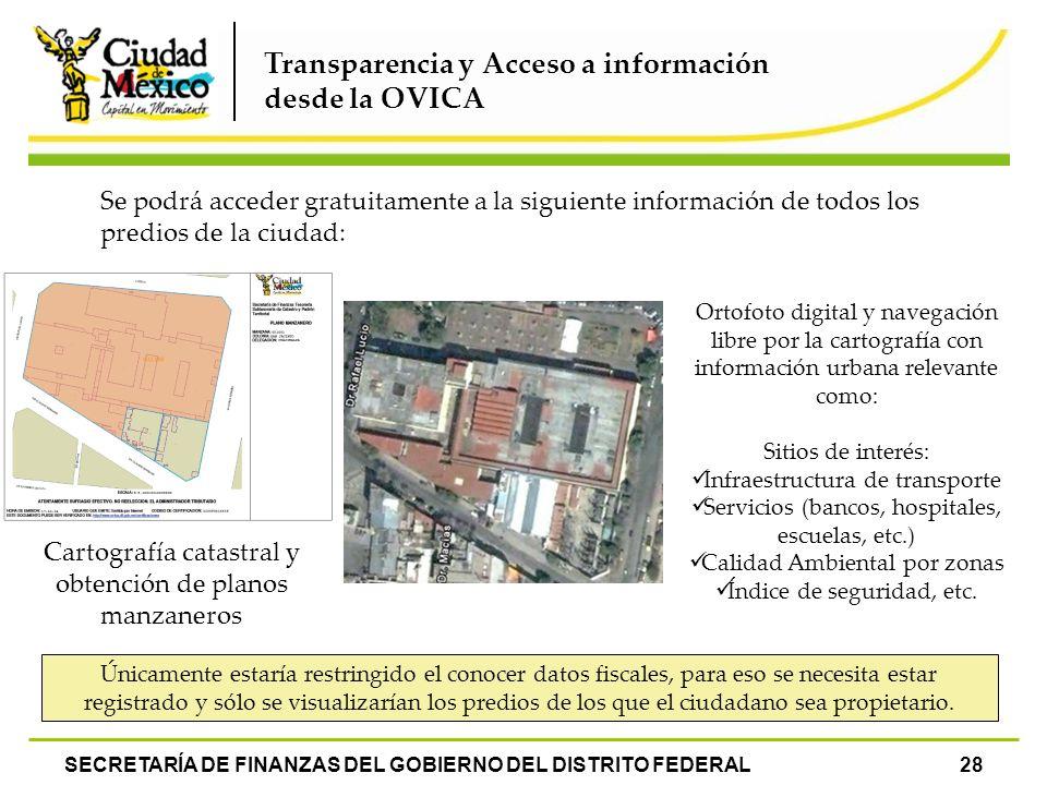 SECRETARÍA DE FINANZAS DEL GOBIERNO DEL DISTRITO FEDERAL28 Transparencia y Acceso a información desde la OVICA Se podrá acceder gratuitamente a la sig