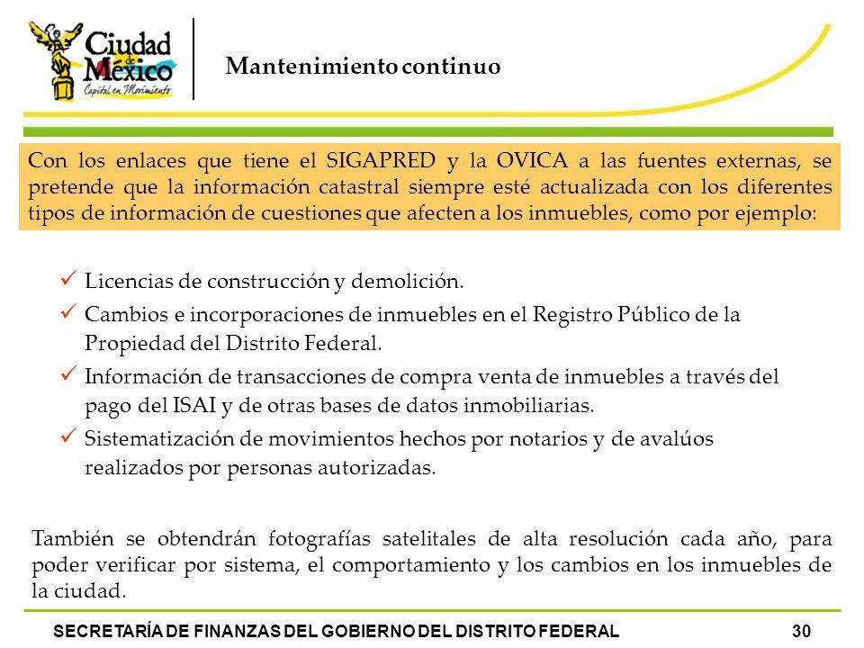 Mantenimiento continuo SECRETARÍA DE FINANZAS DEL GOBIERNO DEL DISTRITO FEDERAL30 Con los enlaces que tiene el SIGAPRED y la OVICA a las fuentes exter