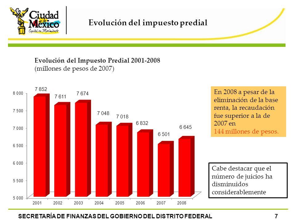 SECRETARÍA DE FINANZAS DEL GOBIERNO DEL DISTRITO FEDERAL7 En 2008 a pesar de la eliminación de la base renta, la recaudación fue superior a la de 2007
