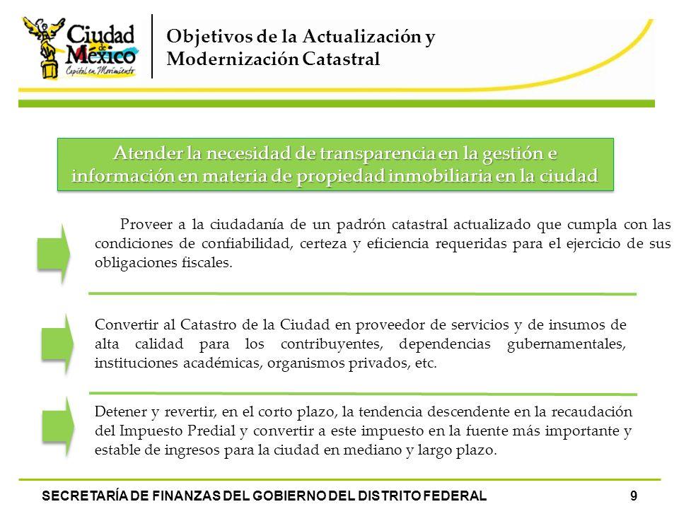 Convertir al Catastro de la Ciudad en proveedor de servicios y de insumos de alta calidad para los contribuyentes, dependencias gubernamentales, insti