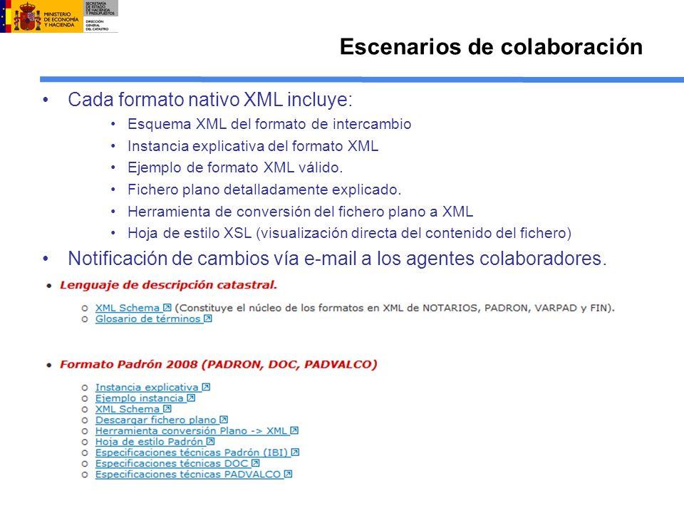 Cada formato nativo XML incluye: Esquema XML del formato de intercambio Instancia explicativa del formato XML Ejemplo de formato XML válido. Fichero p