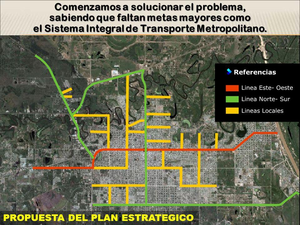 Comenzamos a solucionar el problema, sabiendo que faltan metas mayores como el Sistema Integral de Transporte Metropolitano. PROPUESTA DEL PLAN ESTRAT