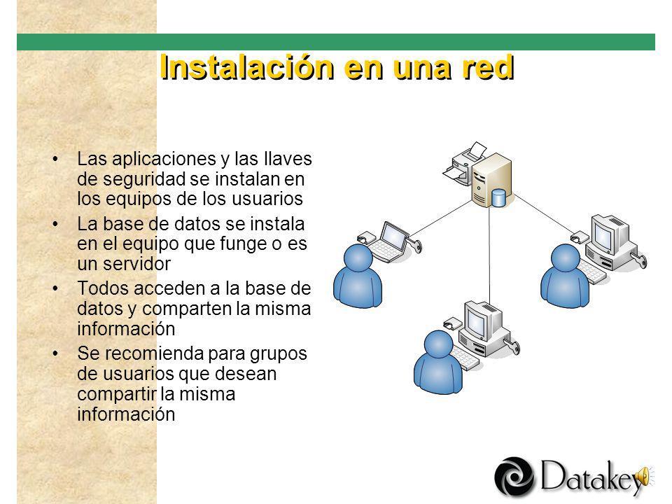 Red básica Las aplicaciones y las llaves de seguridad se instalan en ambos equipos La base de datos se instala en un equipo que funge como servidor Am