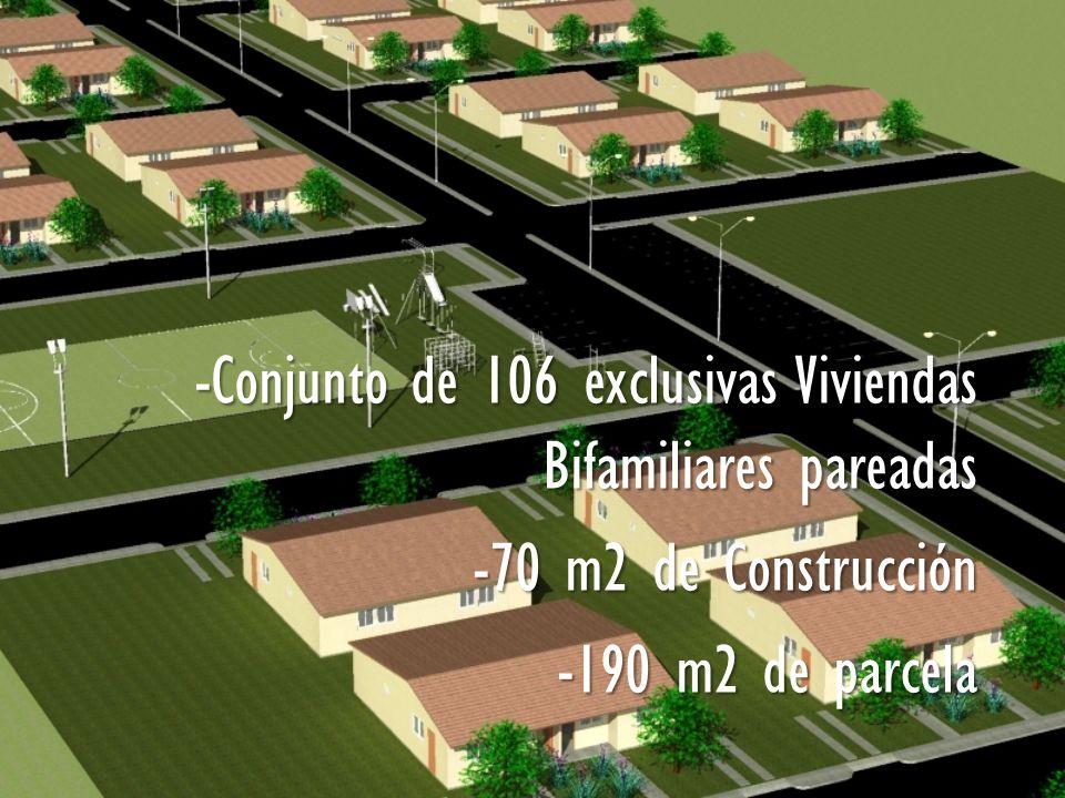 -Conjunto de 106 exclusivas Viviendas Bifamiliares pareadas -70 m2 de Construcción -190 m2 de parcela