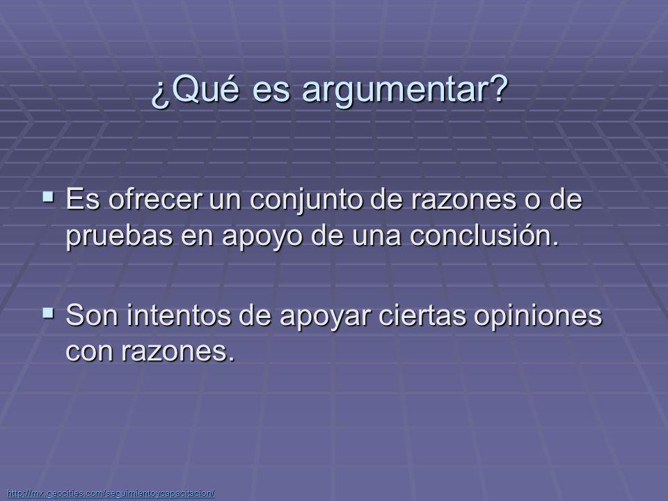 http://mx.geocities.com/seguimientoycapacitacion/ ARGUMENTOS MEDIANTE EJEMPLOS Los argumentos mediante ejemplos son aquellos que ofrecen uno o más ejemplos específicos en apoyo a una generalización.
