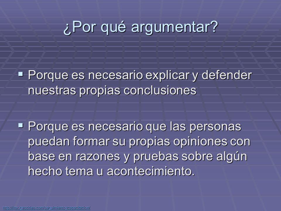 http://mx.geocities.com/seguimientoycapacitacion/ ¿Qué es un argumento.