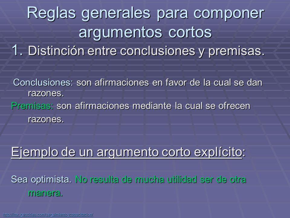 http://mx.geocities.com/seguimientoycapacitacion/ Cuestionar y defender las premisas de cada argumento.