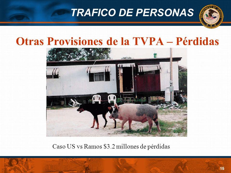 TRAFICO DE PERSONAS 15 Otras Provisiones de la TVPA – Pérdidas Caso US vs Ramos $3.2 millones de pérdidas