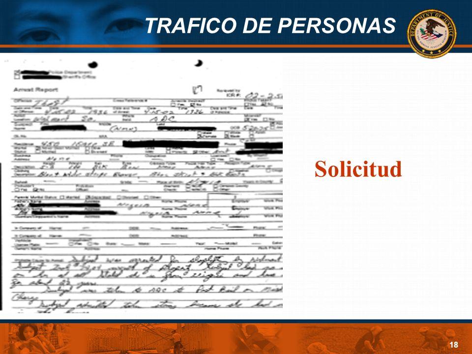 TRAFICO DE PERSONAS 18 Solicitud