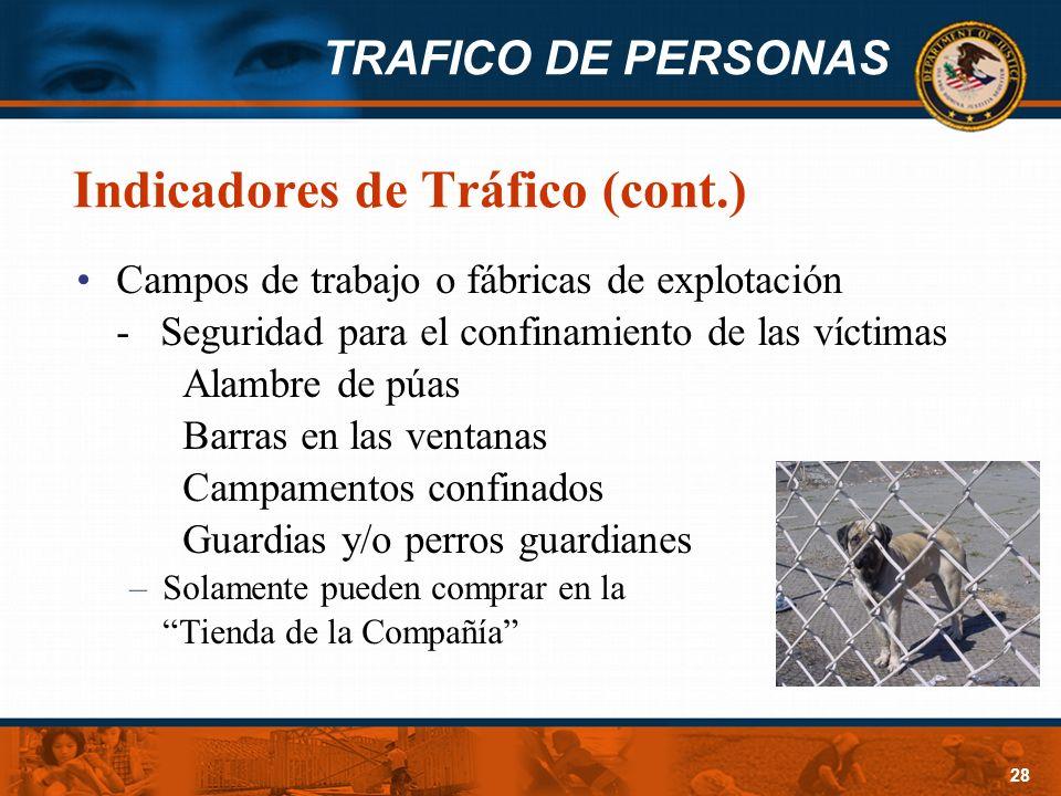 TRAFICO DE PERSONAS 28 Indicadores de Tráfico (cont.) Campos de trabajo o fábricas de explotación - Seguridad para el confinamiento de las víctimas Al